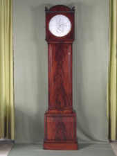Regency mahogany longcase regulator with wood rod pendulum