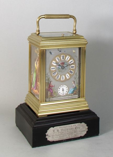 Gilded Carriage Clock on Ebony Base