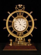 Double ship's wheel Bollard novelty/mystery clock