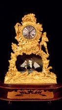 A French automaton 'rocking ship' mantel clock